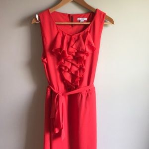 Nina Leonard red/orange ruffle front dress.